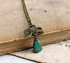 L i g h t...Beautiful teal chrysocolla brass swirl by CrowandIris, $28.00