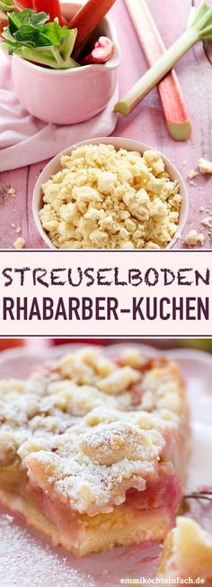 Streuselboden Kuchen mit Rhabarber Crumble cake with rhubarb Apple Recipes, Sweet Recipes, Cake Recipes, Rhubarb Recipes, Rhubarb Crumble Cake, Food Cakes, Food Blogs, Easy Meals, Food And Drink