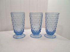 Set of 3 Blue AMERICAN Indiana Glass Footed Ice Tea/ Water Goblets 6-1/8x3-1/2