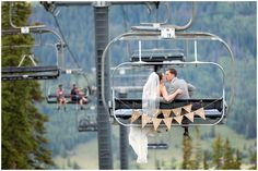 Plum Pretty Photography | Copper Mountain Wedding | Colorado Mountain Wedding | Ski Resort Wedding | Purple and Gray Wedding | Bride and Groom on a Chairlift