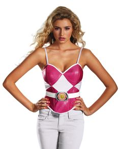 Pink Power Ranger Ladies Halloween Bustier - Calgary, Alberta. Work with what you already have in your closet for an easy costume for Halloween or the next con, use this bustier to become one of the elite martial artists known as the Power Rangers. The pink ranger is known for being the tough girl that is ready to land a flying kick at a moment's notice. Pair this bustier with white, pink or black pants to make the bustier really pop.