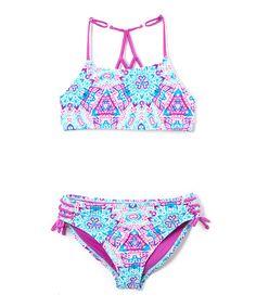 0a926ceac47b3 Purple Cactus Ziggy Ladder-Back Bikini - Girls #zulily #zulilyfinds Kids  Bathing Suits