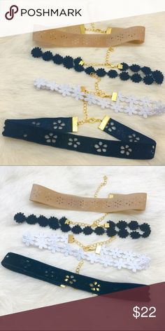 """Flower Choker Bundle The flower choker bundle features four different chokers with flower detail. All chokers measure 11 1/2""""-14 1/2"""". NO TRADES. All chokers handmade me. Jewelry Necklaces"""