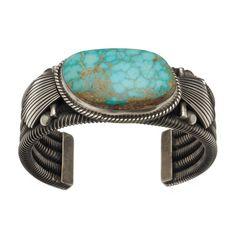 Bracelet Navajo Turquoise Pilot Monutain sur argent Mat | Harpo Paris #bracelet #homme #turquoise #harpo #braceletturquoise #navajo