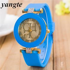 2018 New simple leather Brand Geneva Casual Quartz Watch Women Crystal Silicone Watches Relogio Feminino Wrist Watch Hot sale - khaki Casual Watches, Cool Watches, Women's Watches, Wrist Watches, Fashion Words, Watch Sale, Quartz Watch, Fashion Watches, Casual Dresses For Women