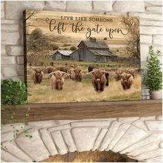 Live Like Someone Left The Gate Open Highland Cattle Canvas Wall Art D – Dilypod Family Gifts, Kids Gifts, Dog Gifts, Cow Canvas, Canvas Wall Art, Canvas Prints, Hereford Cows, Special Gifts For Mom, Highland Cattle