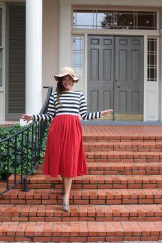 Modest autumn navy and cranberry Sidewalk Stroll Dress. Modest bridesmaids dresses, modest apparel, ruffles, lace. www.daintyjewells.com