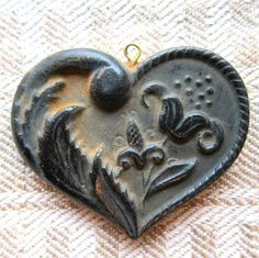 Small Floral and Leaf HEART Cast Black BEESWAX Primitive Very Detailed Ornament