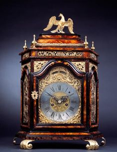 "Table Clock, signed: ""Ioseph Selvaggio Fecit"" Italy, probably Palermo, ca 1735. Tortoishell veneer, ebonised wood, giltbronze 59 x 41 x 18 cm."