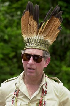 Prince Charles In The Iwokrama Rain Forest With Indian Headdress.