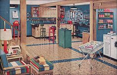 American Home magazine published this Armstrong asphalt floor ad in 1948.  Asphalt was well suited for basements because it was water resistant and super hard wearing. Who wouldn't want this basement?