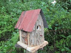Birdhouse Poplar Tree Bark Cabin Old Barn Metal Roof Rustic