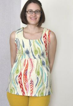 A washi at Tunic length in AMH feathers (made by a happy stitch)
