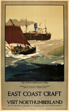 East coast craft - Visit Northumberland - The Northumberland coble - LNER - 1928 - (Frank Mason) - Posters Uk, Railway Posters, National Railway Museum, Vintage Travel Posters, Poster Vintage, Advertising Poster, Poster Size Prints, East Coast, Photo Mugs