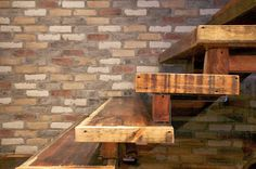 The rustic feel of these re-claimed barn board stairs is mirrored in the authentic, aged look of our Distillery Stonemill Brick.