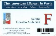 American Library in Paris card Library Cards, Paris France, Literature, Learning, American, Literatura, Studying, Teaching, Onderwijs