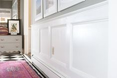 How to Add Molding Squares to a Wall   eHow Picture Frame Wainscoting, Black Wainscoting, Beadboard Wainscoting, Wainscoting Nursery, Dining Room Wainscoting, Wainscoting Panels, Bathroom Wainscotting, Wainscoting Ideas, Installing Wainscoting
