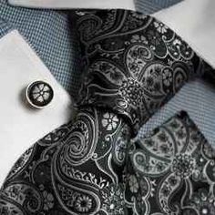 Black and silver paisley tie.