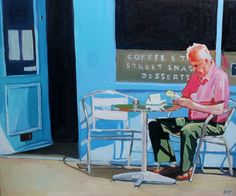 Never Alone (With a Good Book). Man reading a book outside a Swansea Cafe. Oil on Canvas.