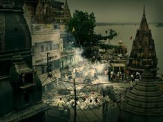Andreas H. Bitesnich Cremation on the banks of the Ganges Varanasi India />Included in the book INDIA Stairway To Heaven, Varanasi, Incredible India, Stairways, Banks, Photo Art, Portrait Photography, The Incredibles, Gallery