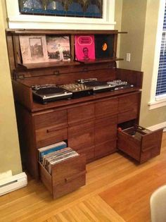 Solid Walnut Record Storage And Turntable Cabinet Can Hold Roximately 1000 Lp S Lid Opens Up To Reveal Turntableixers Audio Equipment