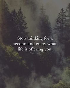 Stop thinking for a second and enjoy..