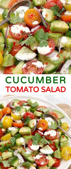 Cucumber Tomato Avocado Salad - a fresh, crunchy side with tomatoes, cucumber, avocado & cilantro (coriander) with a sour cream dressing & a hint of chilli. Avocado Dessert, Avocado Smoothie, Cucumber Avocado Salad, Avocado Salat, Avocado Toast, Fresco, Cilantro, Chili, Healthy Salad Recipes
