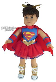 """Super Girl Halloween Costume fits 18"""" American Girl Doll Clothes #DollClothesSewBeautiful"""