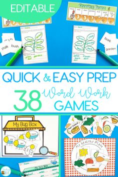 Sight word games that are editable are perfect for creating fun centers or stations for your kindergarten or first grade students. With 36 different games in this pack, you will have a wide range of sight word, phonics, spelling or word work games you can create in seconds! It is easy to create differentiated centers for all your students. #sightwords #editablesightwords #kindergarten #spelling #wordwork #sightwordgames #spellinggame