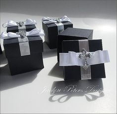 Baptism Or Communion Favor Box Boy's Navy Blue With