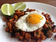 Worthy Pause: Chorizo Sweet Potato Hash #brunch #paleo #whole30; JA: I made a combo Sweet potato/brown potato hash with onions and mushrooms. I sprinkled some chili powder for a kick. Sooo good and filling! It tastes so good when the egg yolk runs over the potatoes! Yum!