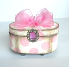 Shabby Chic Trinket Box Pink Polka dot by funwallart