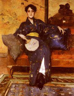 William Merritt Chase (1849-1916) Mrs William Merritt Chase (Alice Bremond Gerson) The Blue Kimono 1888