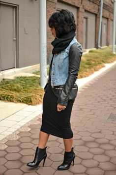 Women's Fashion - Fall outfit - Perfect out fit for cold weather - Pencil skirt, Jean jacket with leather sleeves, Turtleneck, leather high heel booties & her leather fanny pack with the gold zippers really sets her out fit off! I would totally rock this look!