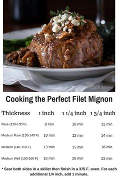 Use this handy cooking chart & learn how to cook the perfect filet. This filet mignon recipe is perfect for a romantic gluten free dinner for two! Great Valentine's day meal idea!