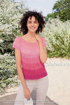 Top Netty z příze Fantasy Colour – PLETENÍ – NÁVODY Knit Crochet, Peplum, V Neck, Colours, Fantasy, Knitting, Free, Women, Fashion