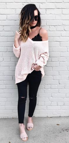oversized sweater + jeans all black