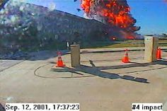 This photo from a Pentagon surveillance camera shows the fireball that resulted when the hijacked American Airlines Flight with 58 passengers and 6 crew members aboard, slammed into the Pentagon on September 11 September 2001, Remembering September 11th, We Will Never Forget, Lest We Forget, New York, A Day To Remember, Powerful Images, Tours, Military