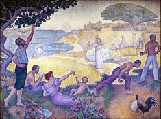 """Au Temps d'Harmonie (La Joie de Vivre - Dimanche au Bord de la Mer), Paul Signac, 1895-96. """"¡Una gran noticia! En su consejo, voy a probar un gran lienzo!... En primer plano, un grupo en reposo... hombre, mujer, niño... bajo un gran pino un anciano cuenta historias a los niños pequeños en una colina...la cosecha: las máquinas de humo, trabajo, disminuir la monotonía: y alrededor de los montones de heno... una farándula de cosechadoras... en el centro, una joven pareja: el amor libre"""""""