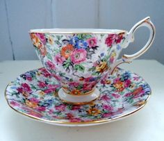 Vintage Royal Albert Chintz Tea Cup and Saucer ~ love chintz patterns ; Antique Tea Cups, Vintage Cups, Vintage Tea, Vintage China, Royal Albert, China Tea Cups, Teapots And Cups, Tea Service, My Cup Of Tea