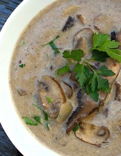 Scrumpdillyicious: Wild Mushroom Soup with Sherry & Thyme. needs to be paleo-ized. switch out the cream & flour for coconut milk and arrowroot powder. Creamy Mushrooms, Stuffed Mushrooms, Wild Mushroom Soup, Mushroom Soup Recipes, The Cream, Cannelloni, Cooking Recipes, Healthy Recipes, Mushrooms