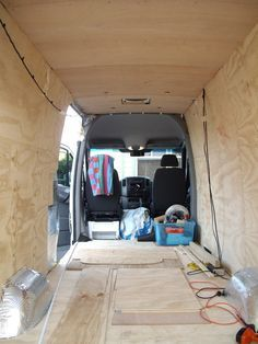 Insulation and paneling installed in a van camper