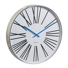 #Invotis large 50cm chrome case wall clock #roman numerals blue hands #modern sty,  View more on the LINK: http://www.zeppy.io/product/gb/2/360720225889/