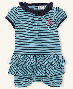 Ralph Lauren Baby Romper, Baby Girls Jersey Striped Bubble Romper - Kids Newborn Shop - Macy's