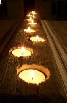 stuk steigerhout met waxine lichtjes erin