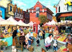 """The Farmer's Market"" by Susan Brabeau {American painter}"