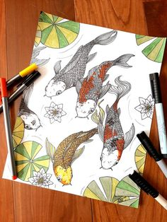 Koi Fish Colouring Page, Adult Colourig Page, Fish Pond coloring page Fish Coloring Page, Colouring, Coloring Pages, Koi, My Etsy Shop, Unique Jewelry, Handmade Gifts, Pretty, Check