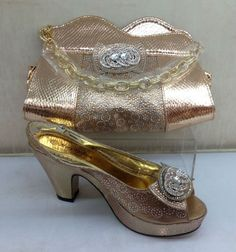 60.00$  Watch now - http://ali7nv.worldwells.pw/go.php?t=32756262597 - African Shoe and Bag Set Italian Shoe with Matching Bag African Shoesand Bag Set Ladies Matching Shoe and Bag Italy PEACH COLOR 60.00$