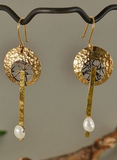 Tumbaga hammered drop circle earrings with white fresh water pearls by NataliaNorenasilver on Etsy