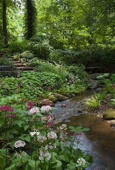75 Backyard Ponds and Water Garden Landscaping Ideas - frontbackhome Garden Paths, Garden Landscaping, Landscaping Ideas, Garden Stream, Backyard Stream, Garden Pond, Stream Bed, Inexpensive Landscaping, Cacti Garden